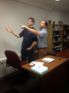 My mentor teacher (right) and I (left) looking rather stoic.